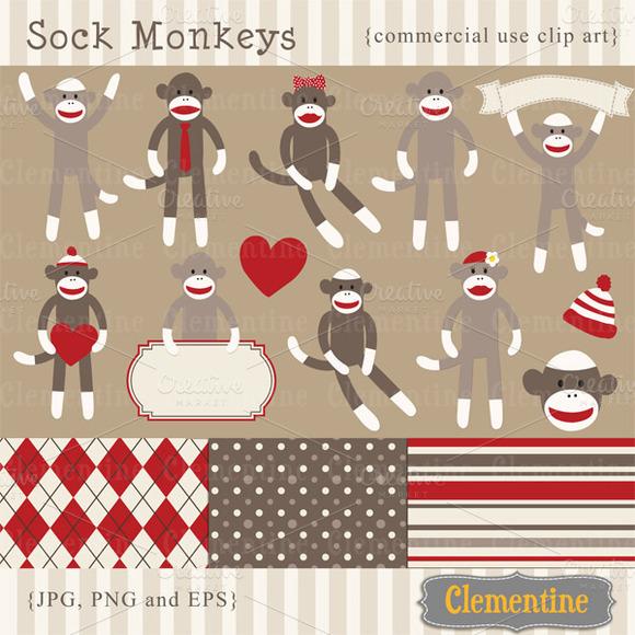 Sock Monkey Clip Art And Vectors