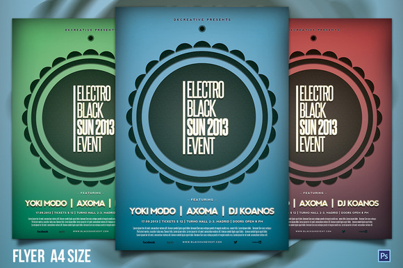 Electro Black Sun Event Flyer