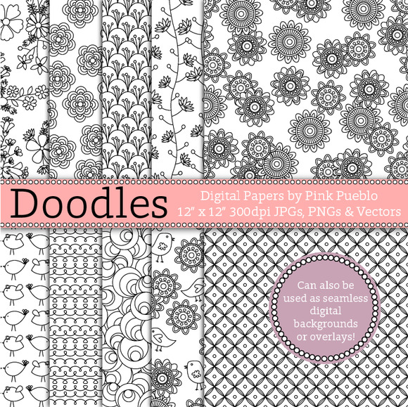 Doodle Papers Seamless Backgrounds