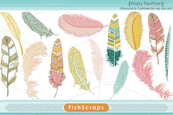 Wispy Pink Feather Clip Art