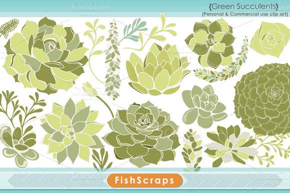 Succulent Clip Art Green