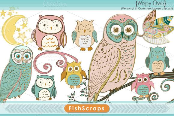 Wispy Pastel Owl Clip Art
