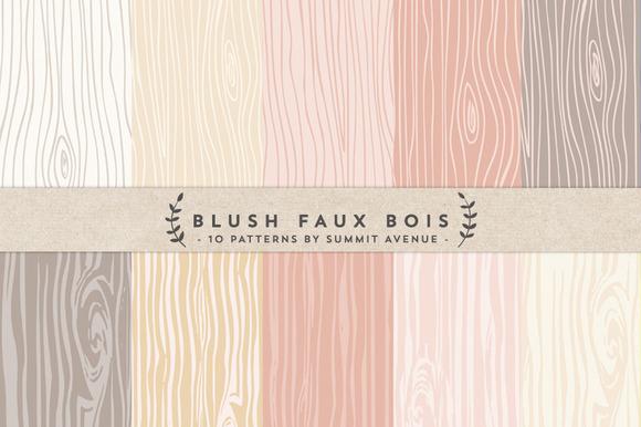 Blush Faux Bois Woodgrain Papers