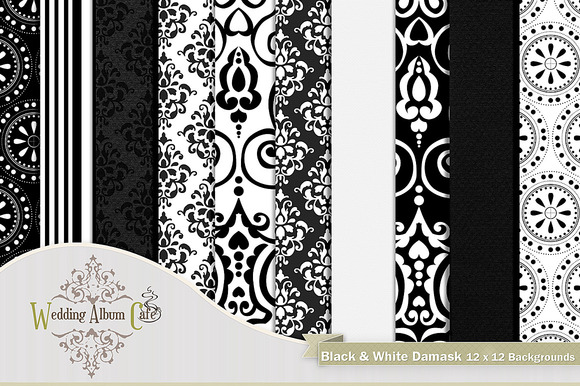 Black White Damask Backgrounds