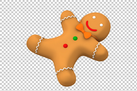 Gingerbread Man 3D Render PNG