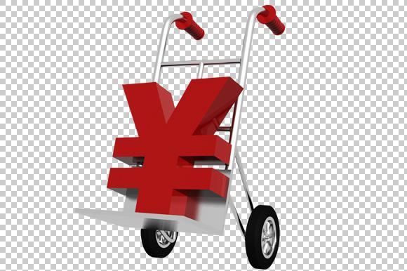 Yen Symbol 3D Render PNG