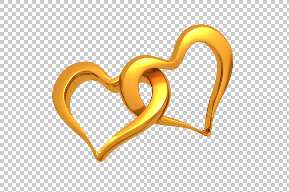Golden Hearts 3D Render PNG