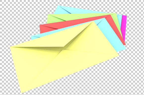 Envelopes 3D Render PNG