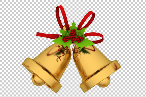 Christmas Bells 3D Render PNG