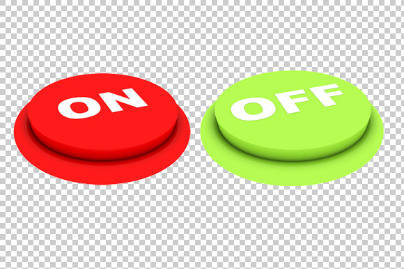 On Off Buttons 3D Render PNG