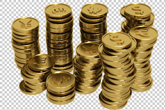 Coins 3D Render PNG