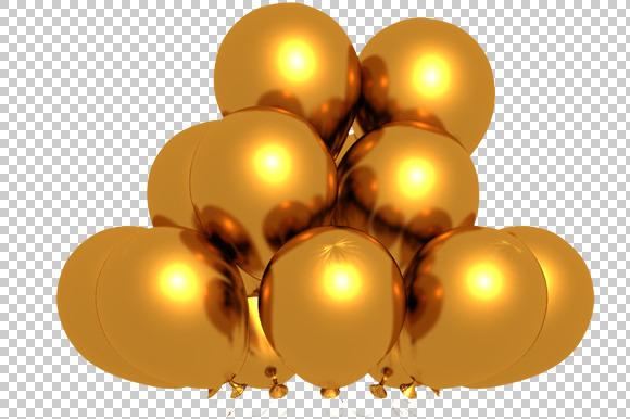 Golden Balloons 3D Render PNG
