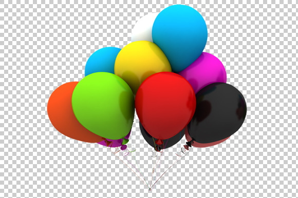 Balloons 3D Render PNG