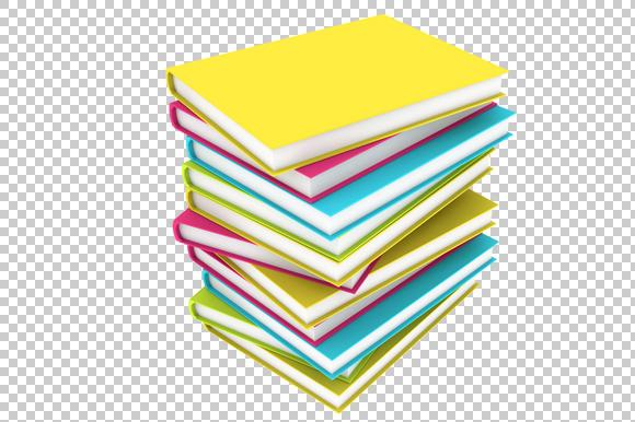 Book Stack 3D Render PNG
