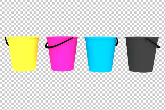 CMYK Buckets 3D Render PNG