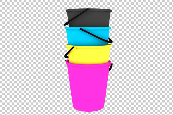 Buckets 3D Render PNG