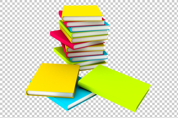 Books 3D Render PNG