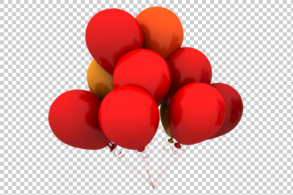 Red Balloons 3D Render PNG