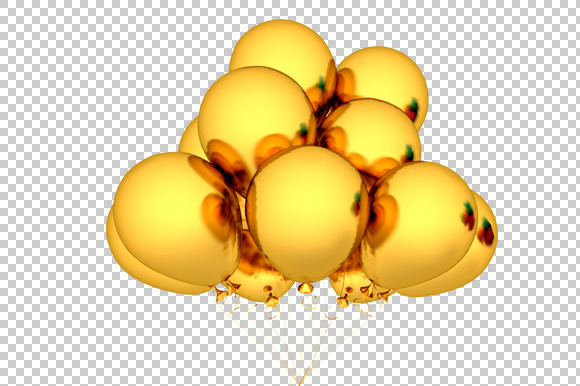 Gold Balloon 3D Render PNG