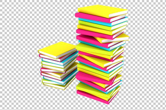 Books Stacks 3D Render PNG