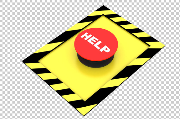 Help Button 3D Render PNG