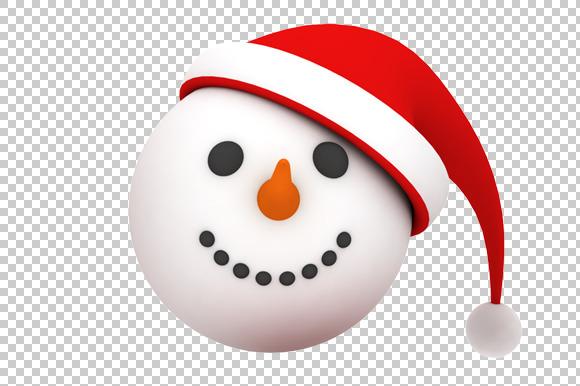 Snowman Face 3D Render PNG