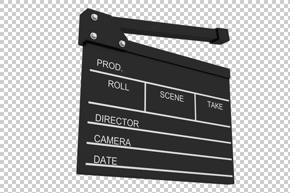 Movie Take Board 3D Render PNG