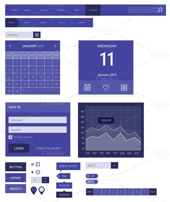 Web Elements Flat Design