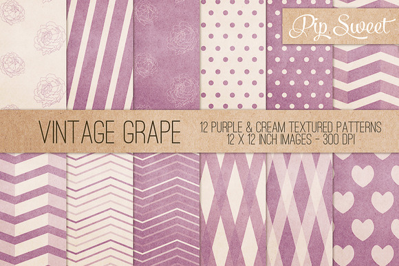 Vintage Grape 12 Pattern Set