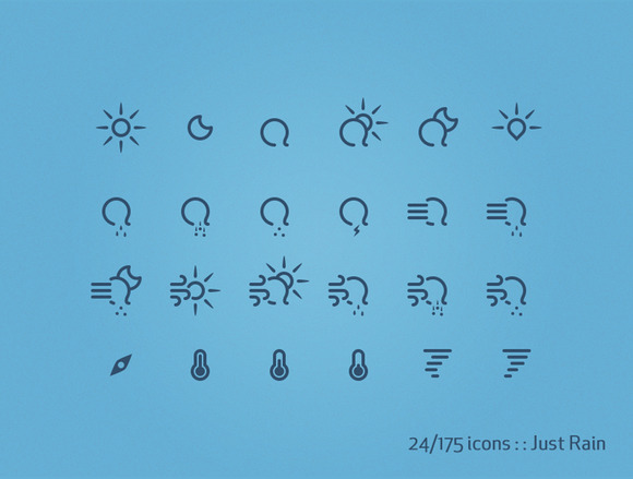 175 Weather Icons Just Rain