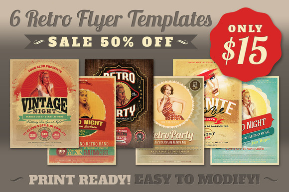 SALE 6Retro Flyer Templates 50% Off