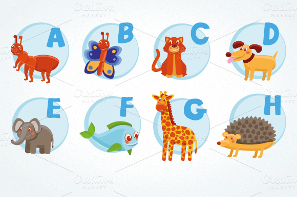 Vector Cartoon Alphabet For Children