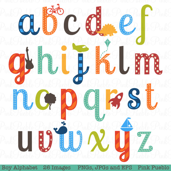 Boy Alphabet Clipart Vectors