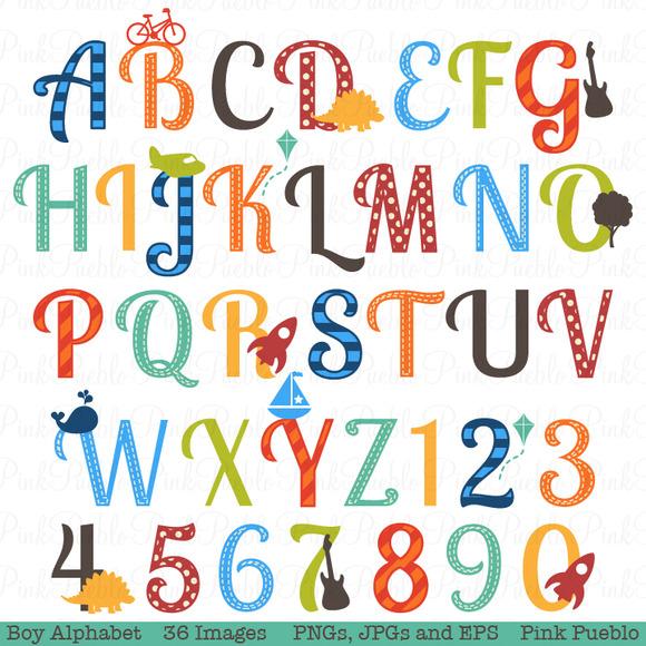 Boy Alphabet Clipart Vectors 2