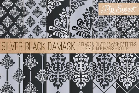 Black Silver Damask 12 Pattern Set