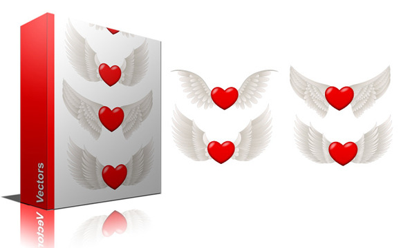 Flying Hearts Vectors PNG Brushes