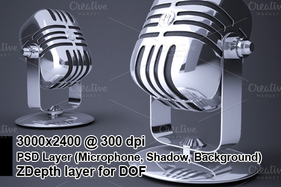 Microphone Render With Zdepth Effect