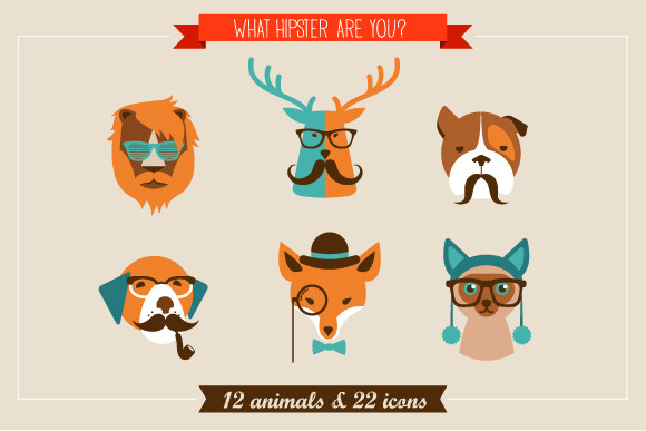 Hipster Animals 22 Icons