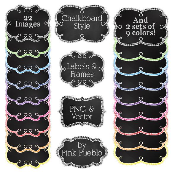 Chalkboard Labels Clipart Vectors