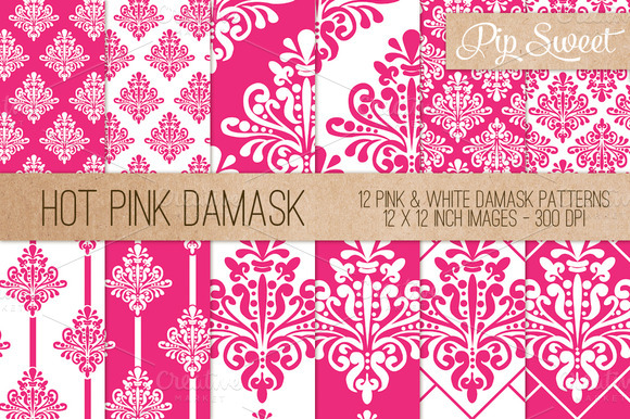 Hot Pink Damask 12 Pattern Set