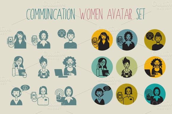 Communication Women Avatar Set