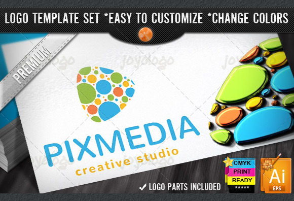 Pixel Dots Creative Media Play Logo