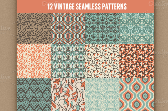 12 Vector Vintage Seamless Patterns