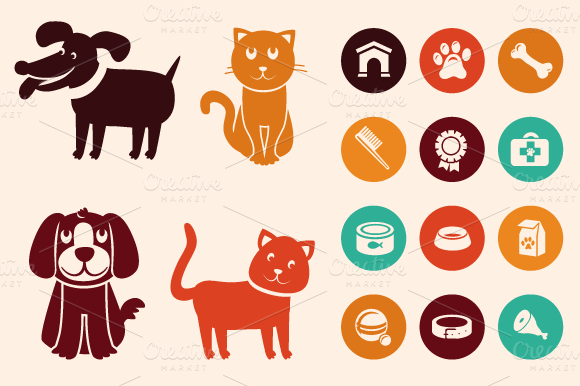 Cats And Dogs Icons And Patterns