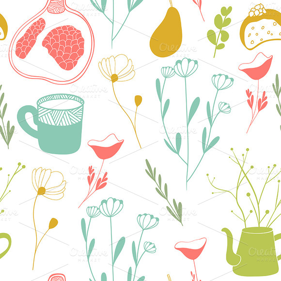 Cute Fruits And Flowers Pattern