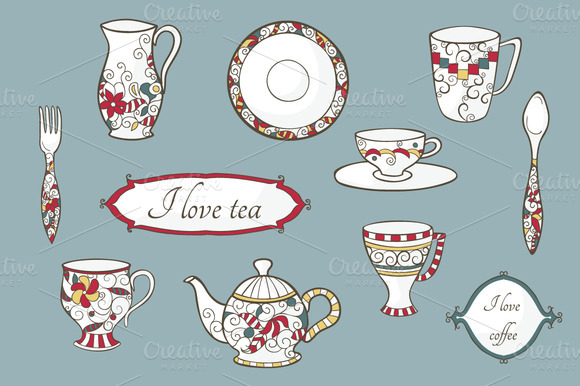 Vector Set Of Vintage Dishware
