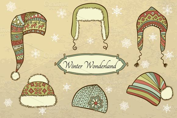 Vector Set With Winter Caps