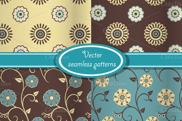 4 Vector Vintage Floral Patterns