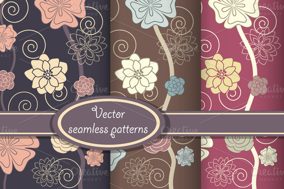 Vector Set Of Elegant Floral Pattern