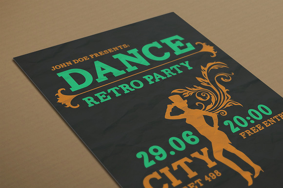 Dance Retro Party Flyer PSD